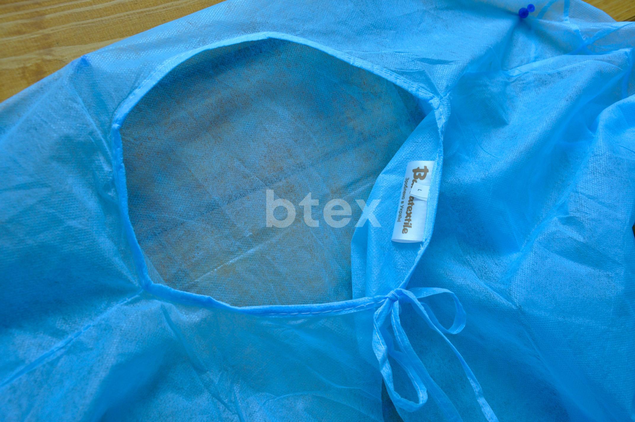Халат (одноразовий), однотонний, тканина Спанбонд, щільність - 50г / м2 фото-3