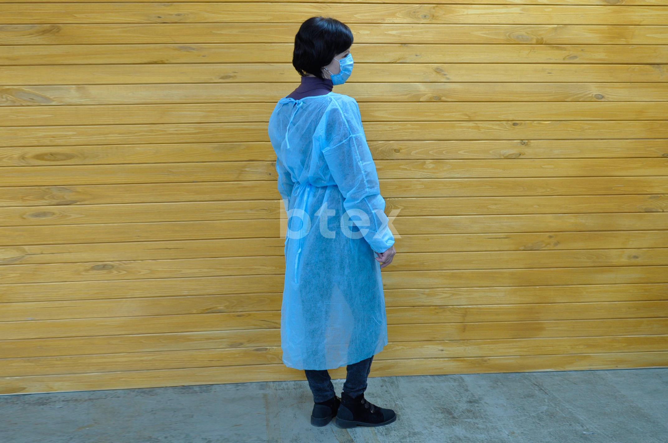 Халат (одноразовий), однотонний, тканина Спанбонд, щільність - 50г / м2 фото-4